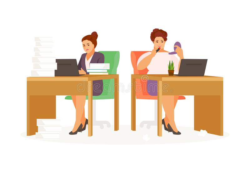 Lazy and hardworking woman. Lazy and hardworking girls in the office. Vector illustration vector illustration