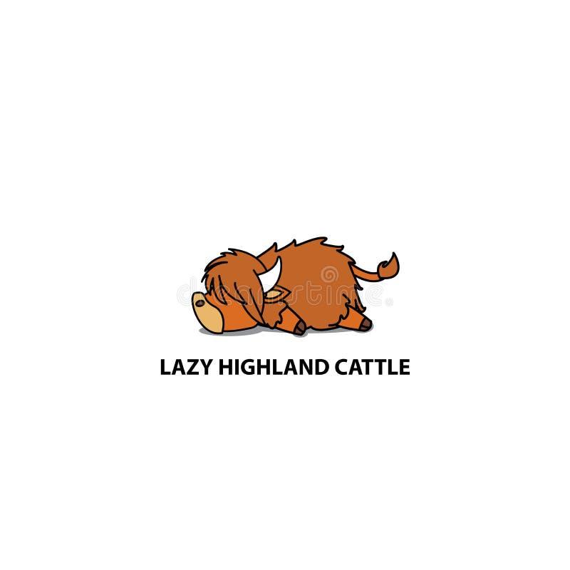 Free Lazy Highland Cattle, Cute Highland Cow Sleeping Icon, Logo Design Stock Photography - 112991662