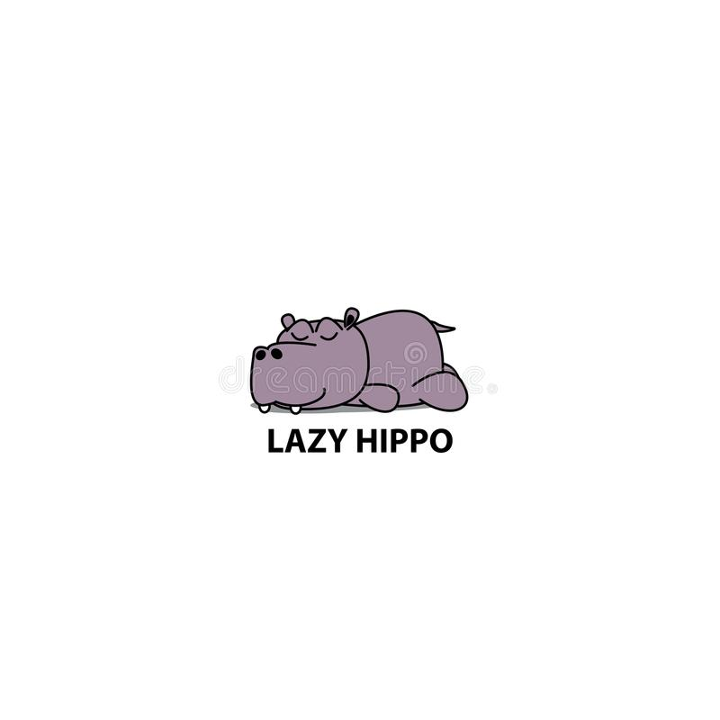 Lazy hippo, Hippopotamus sleeping icon, logo design. Vector illustration stock illustration