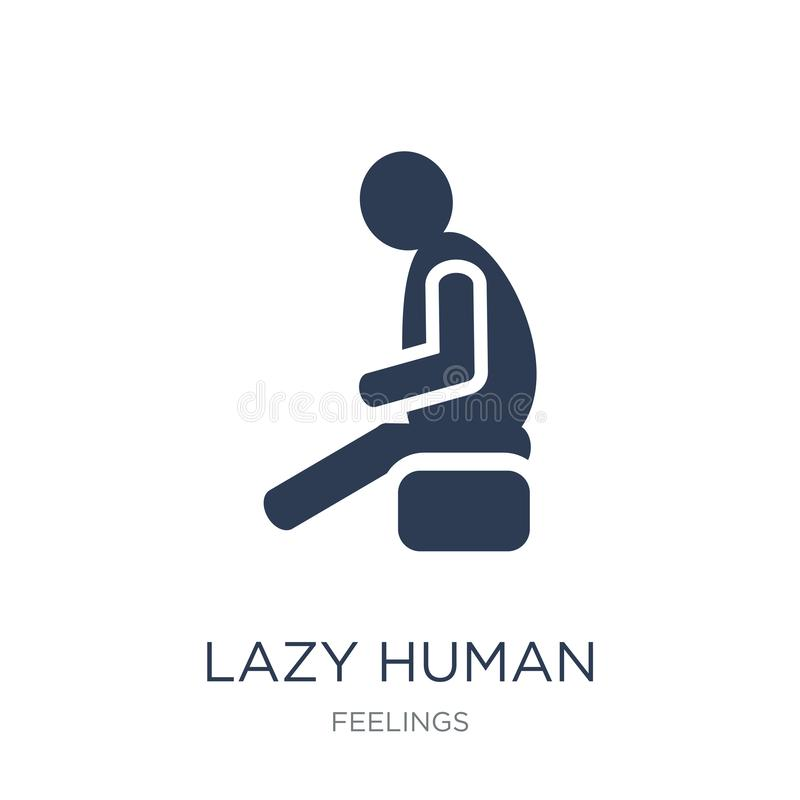 Lazy human icon. Trendy flat vector lazy human icon on white background from Feelings collection. Vector illustration can be use for web and mobile, eps10 stock illustration