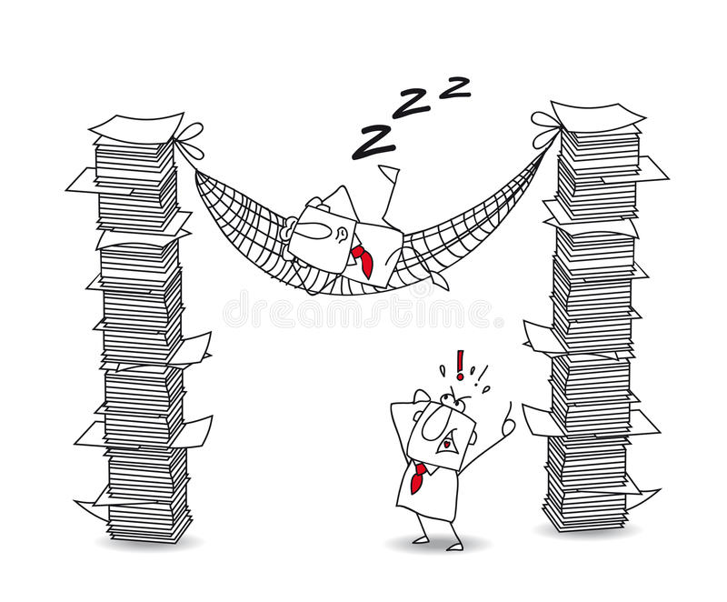 Lazy joe. Joe is lying in his hammock between two paper stacks. It's a metaphor of a lazy man at work stock illustration