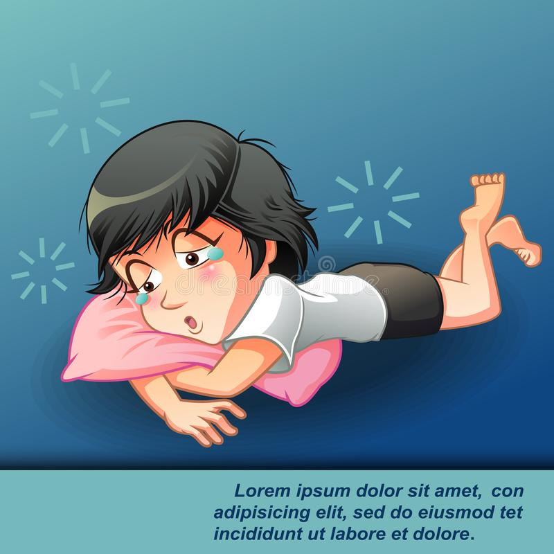 She is lazy. vector illustration