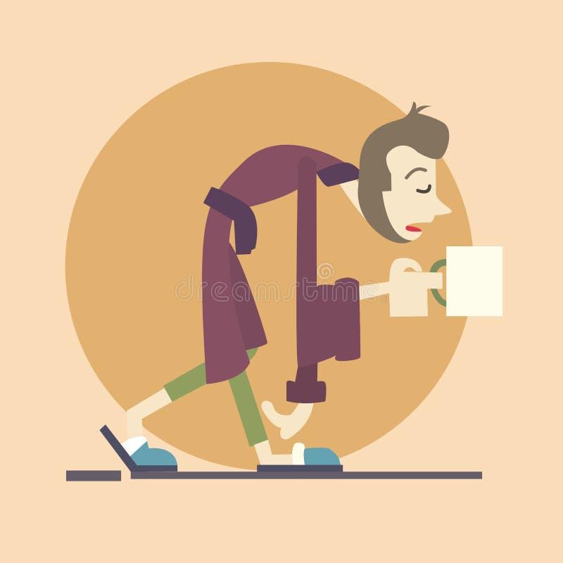 Lazy man brings morning coffee royalty free illustration