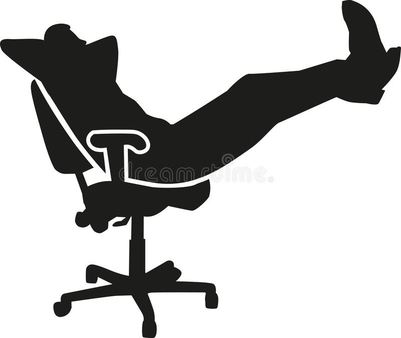 Lazy man in office - sleeping at work royalty free illustration