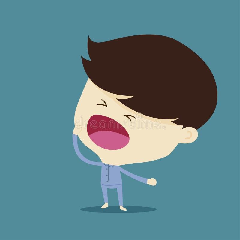 Lazy man yawn in pajamas. Lazy and sleepless man yawn in pajamas stock illustration