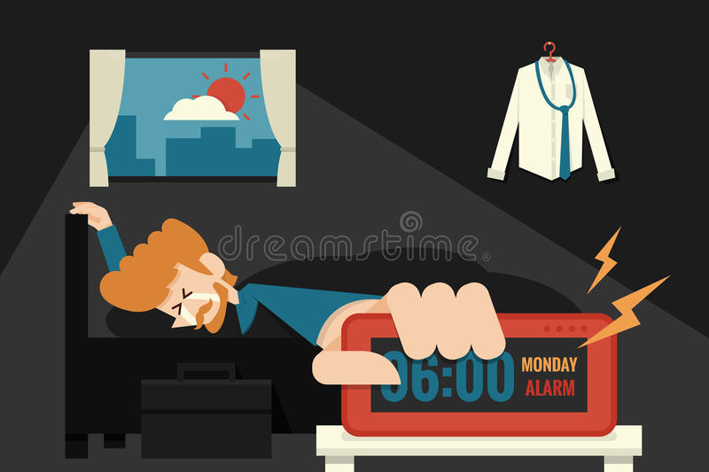 Lazy Monday. With crying businessman on bed royalty free illustration