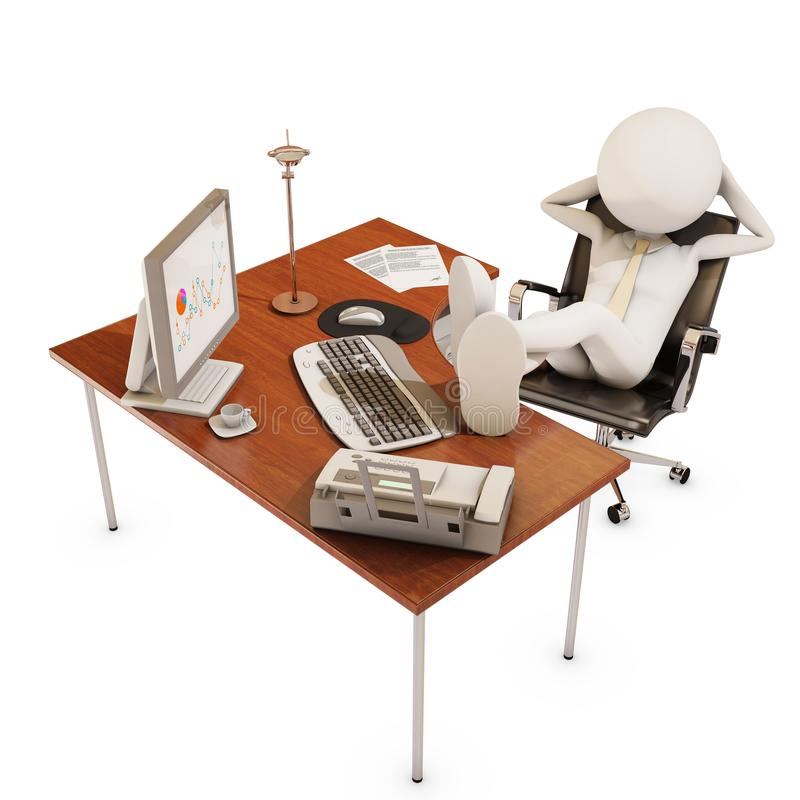 Lazy office worker. 3d rendering vector illustration