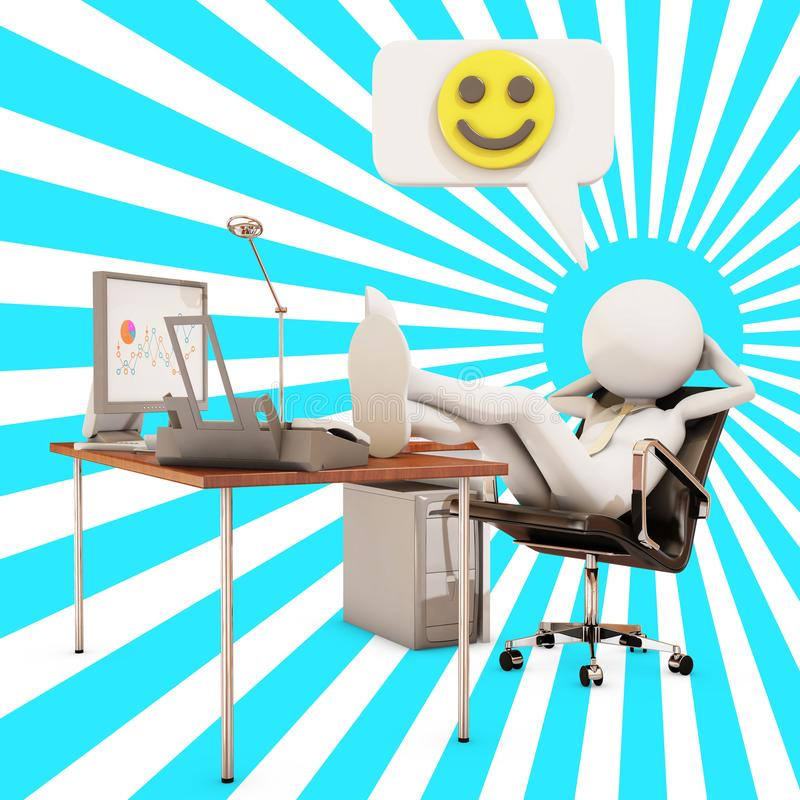 Lazy office worker, 3d rendering. Lazy office worker with emoticon, 3d rendering royalty free illustration