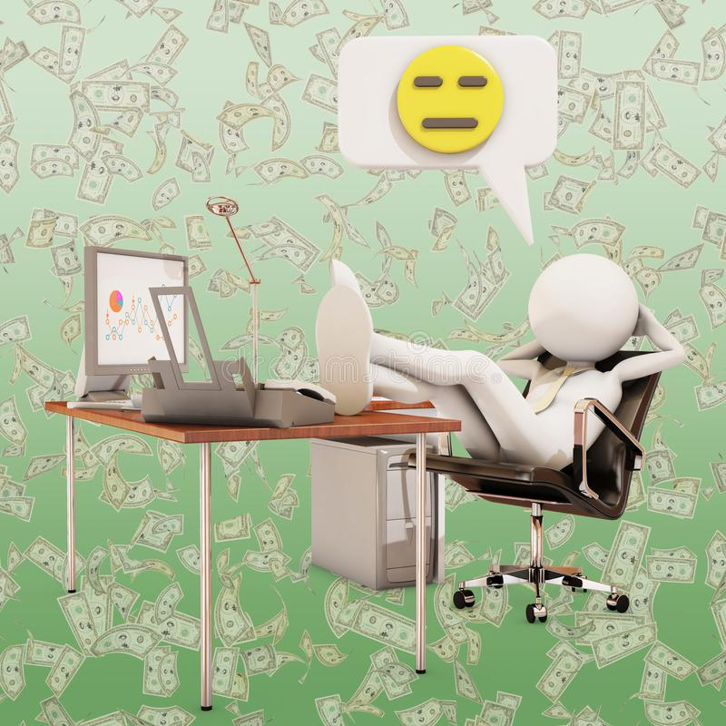 Lazy office worker. With emoticon, 3d rendering stock illustration
