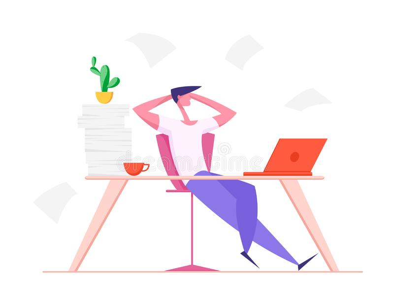 Lazy Office Worker with Hands behind of Head Sit in Office at Desk. Useless Relaxing Man Doing Nothing or Taking Break royalty free illustration