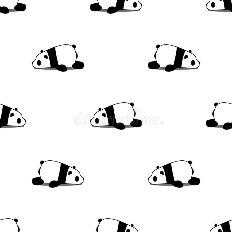 Lazy panda cartoon seamless pattern on white background, vector. Illustration stock illustration