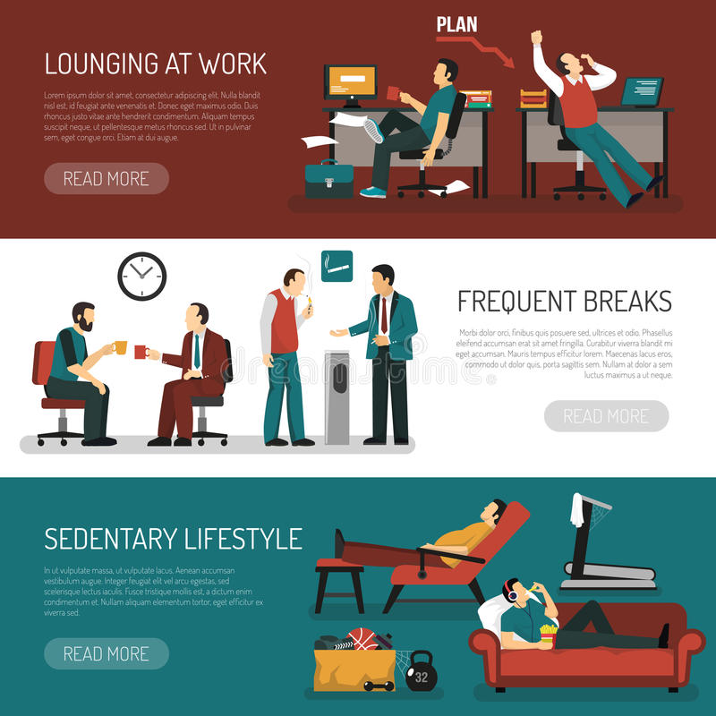 Lazy People Banners Set. Lazy people set of horizontal banners with lounging at work frequent breaks sitting lifestyle vector illustration royalty free illustration