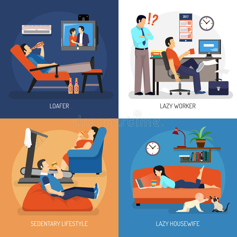 Lazy People Compositions. Lazy people at work and at home compositions including housewife on sofa sitting lifestyle isolated vector illustration stock illustration
