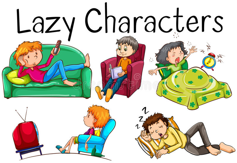 Lazy people doing boring activities vector illustration
