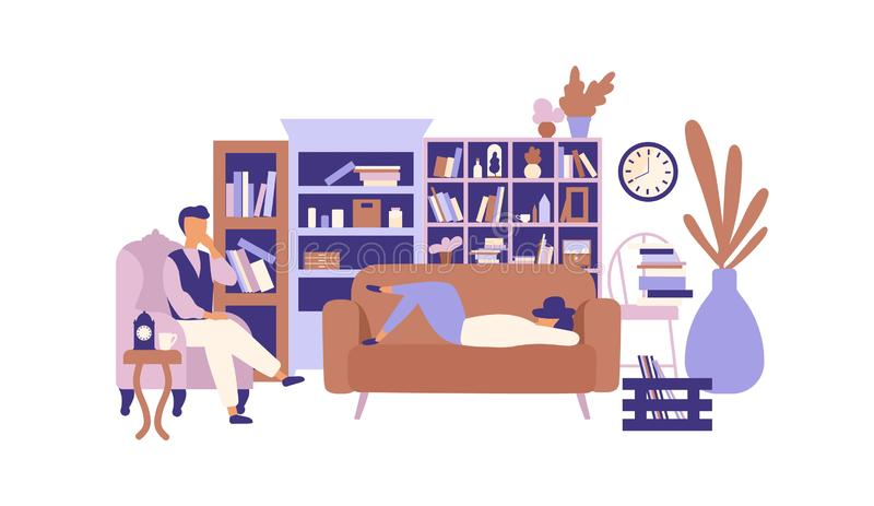 Lazy people relaxing in living room full of exquisite furniture. Man and woman spending time at home and lazing around. Laziness and idleness. Colorful vector vector illustration