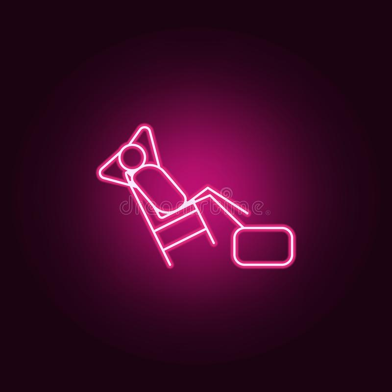 Lazy person outline icon. Elements of Lazy in neon style icons. Simple icon for websites, web design, mobile app, info graphics. On dark gradient background royalty free illustration
