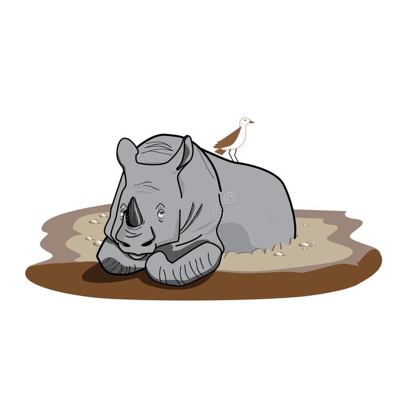A lazy rhino. Chill in his mud puddle with a little bird companion vector illustration