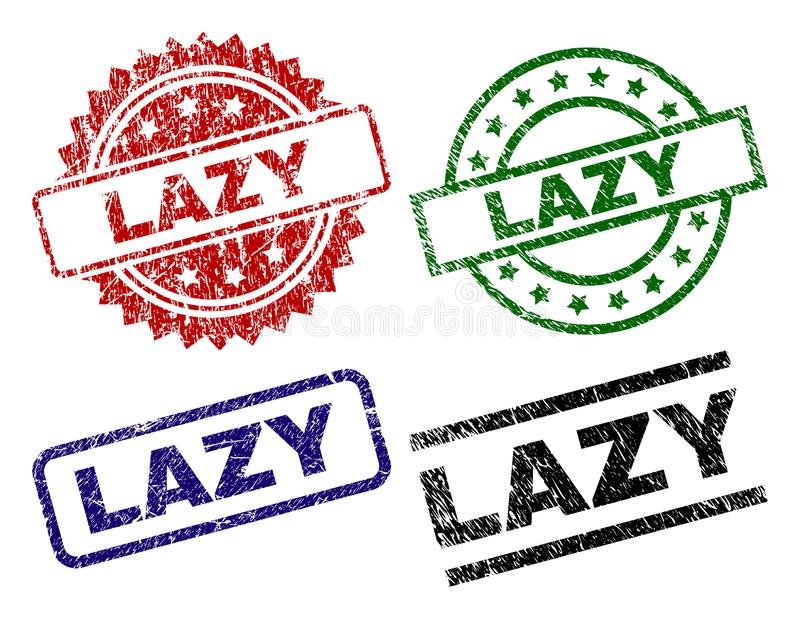 Damaged Textured LAZY Seal Stamps. LAZY seal prints with distress style. Black, green,red,blue vector rubber prints of LAZY text with corroded style. Rubber royalty free illustration