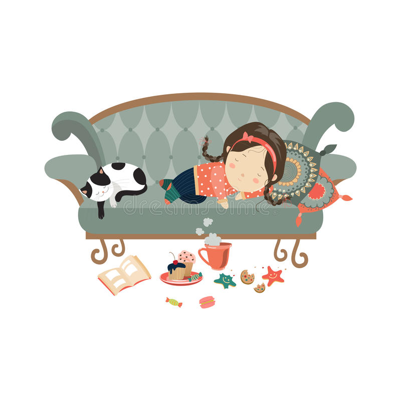 Lazy sleeping girl with cat. Vector illustration stock illustration