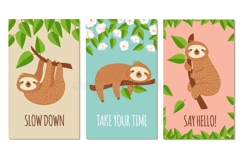 Lazy sloth. Cute slumbering sloths on branch. Child t shirt design or greeting cards vector set. Illustration of slumber animal, laziness and sleep on branch stock illustration