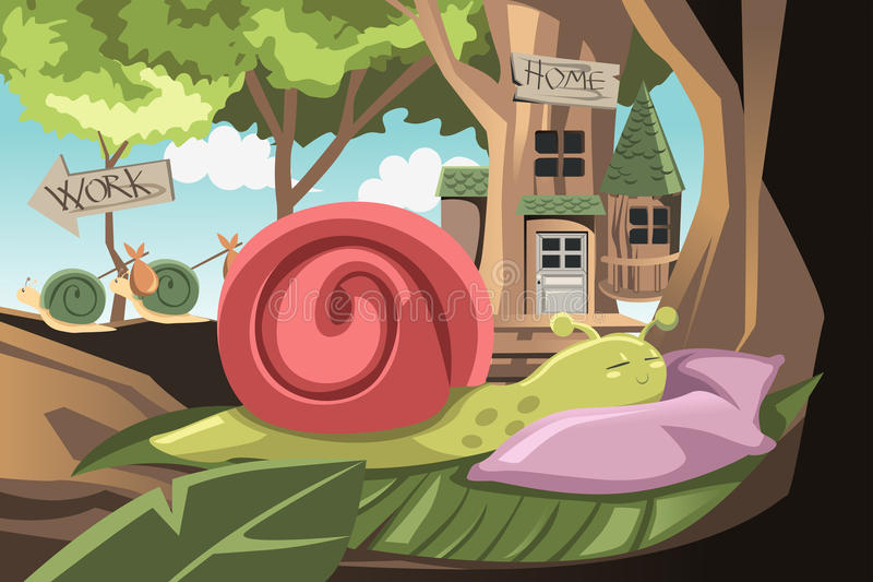 Lazy snail. A vector illustration of a lazy snail sleeping while others going to work vector illustration