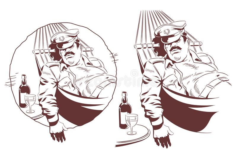 Lazy soldier sleeps in hammock. Stock illustration. Stock illustration. Lazy soldier sleeps in hammock royalty free illustration