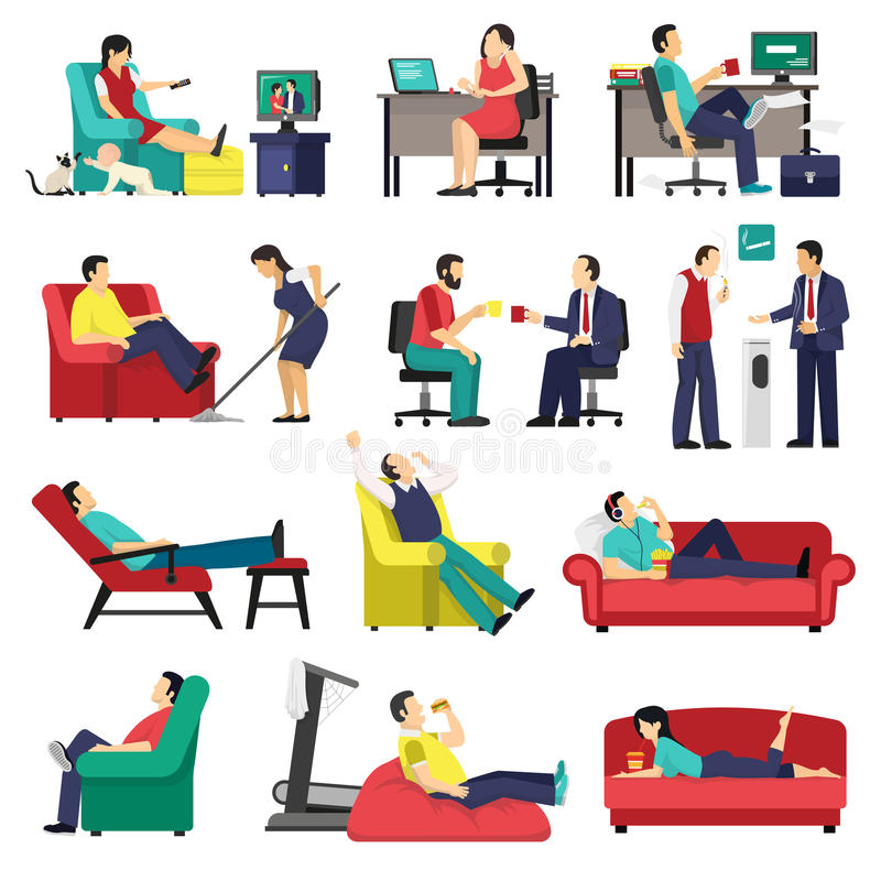 Lazy And Tired People Set. Set of lazy and tired people in office workplace and at home on sofa isolated vector illustration royalty free illustration