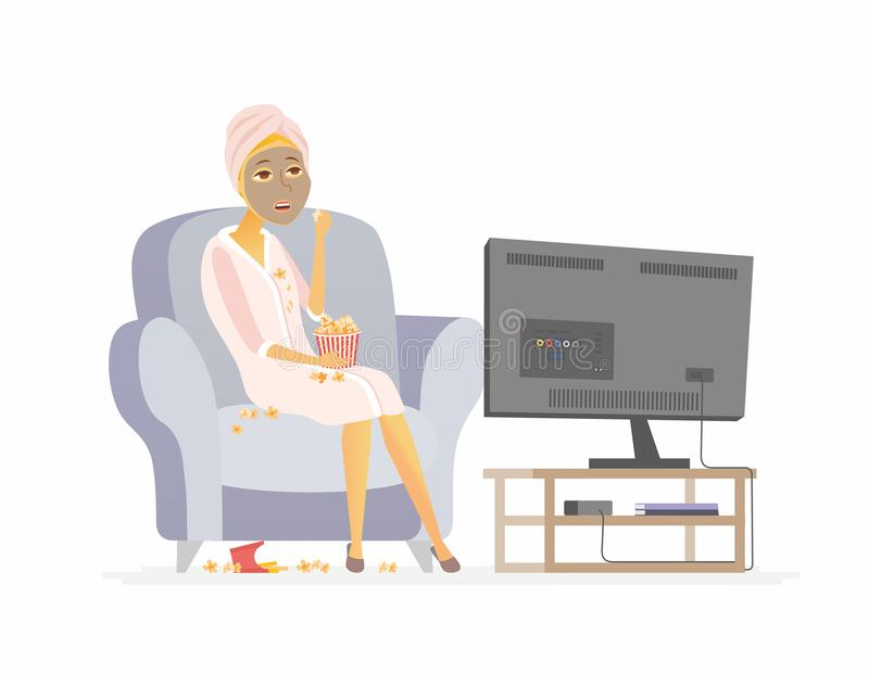 Lazy weekend - cartoon people character isolated illustration. On white background. An image of a young woman with a face mask sitting on a chair, eating stock illustration