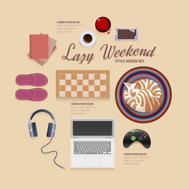 Lazy weekend at home vector icons style design set. On beje background vector illustration