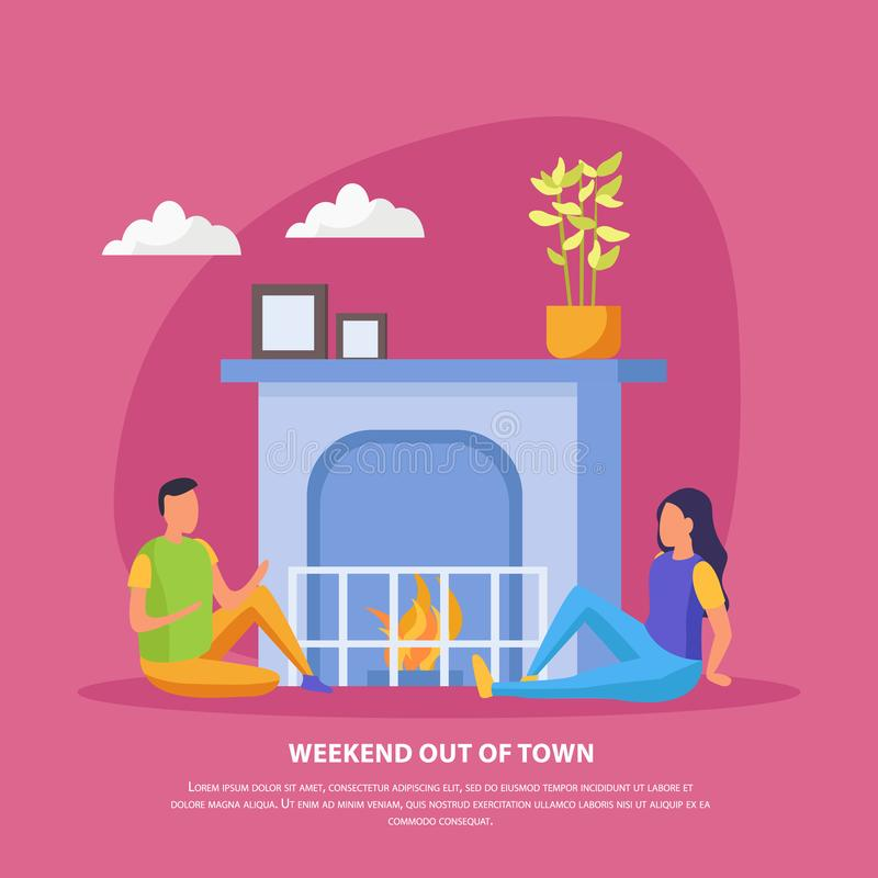 Lazy Weekends People Flat Background. With weekend out of town description and romantic date of couple vector illustration royalty free illustration