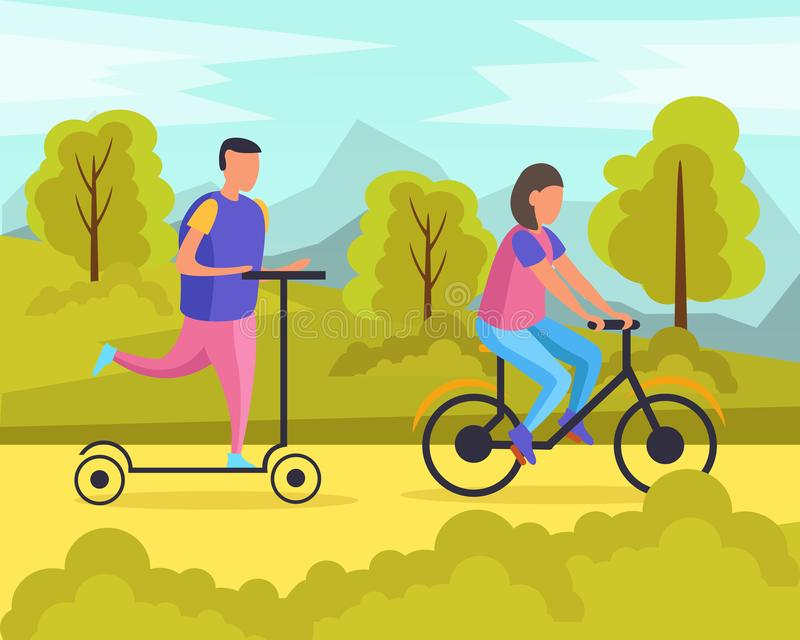 Lazy Weekends People Flat Composition. With man and woman riding in the park vector illustration royalty free illustration