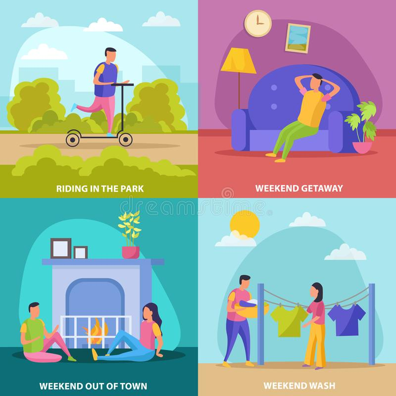 Lazy Weekends People Flat Icon Set. With riding in the park weekend getaway wash and out of town descriptions vector illustration royalty free illustration