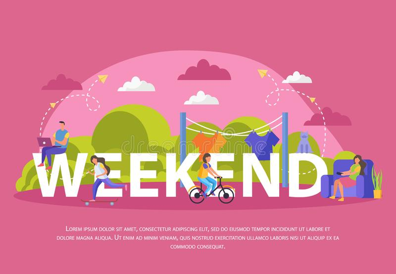 Lazy Weekends People Flat Poster. With big weekend headline and people sit on it vector illustration vector illustration