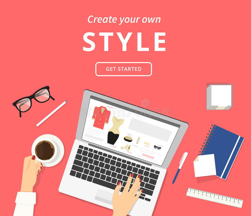 Lazy woman sitting at the desk with laptop and choosing clothes online stock illustration