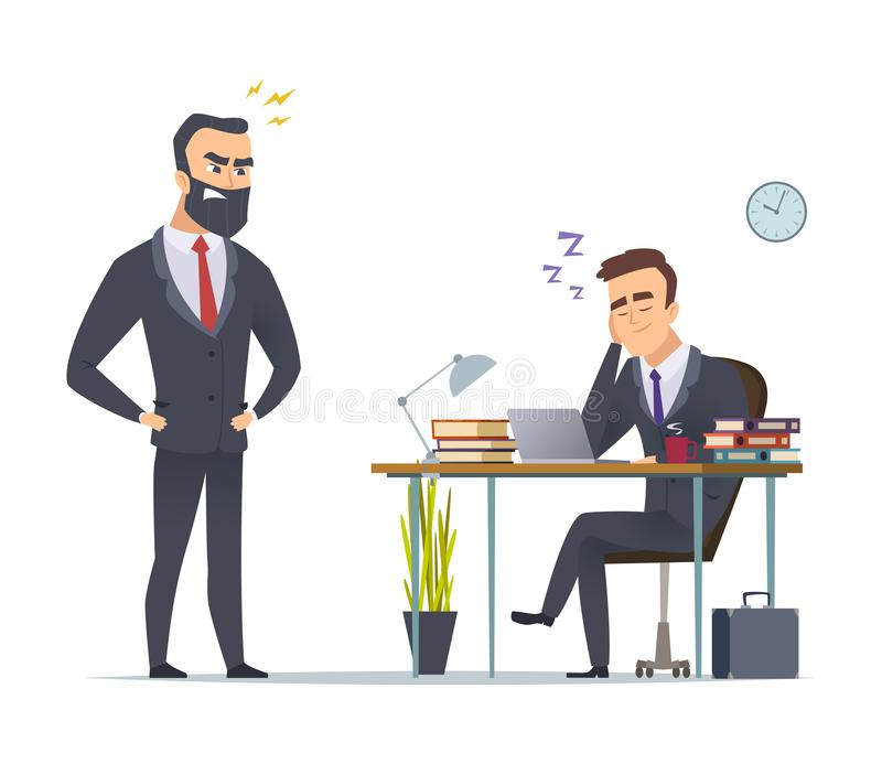 Lazy worker. Business office manager tired from routine work slipping at desk angry director standing vector concept. Scene. Business employee manager royalty free illustration