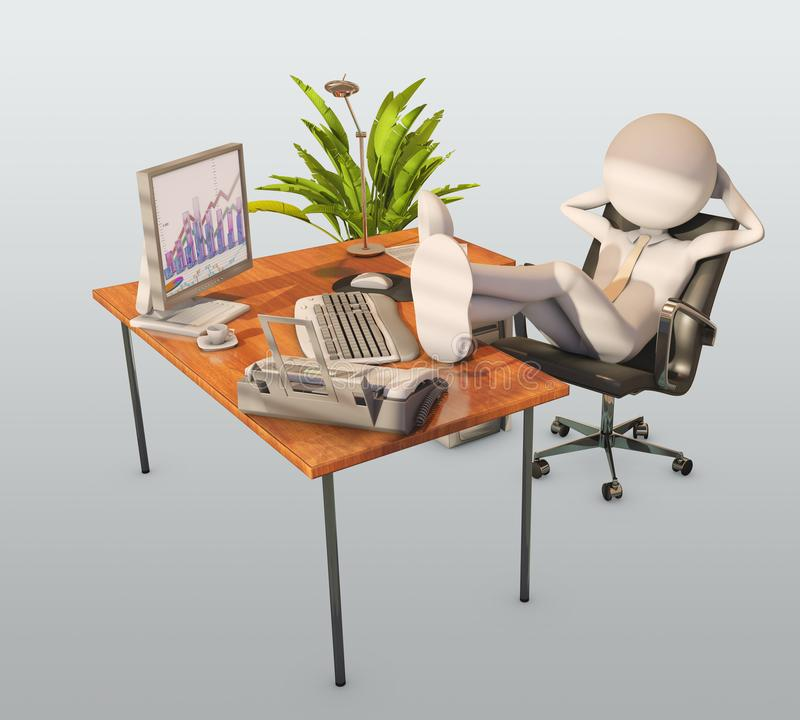 Lazy worker. At office, 3d rendering royalty free illustration