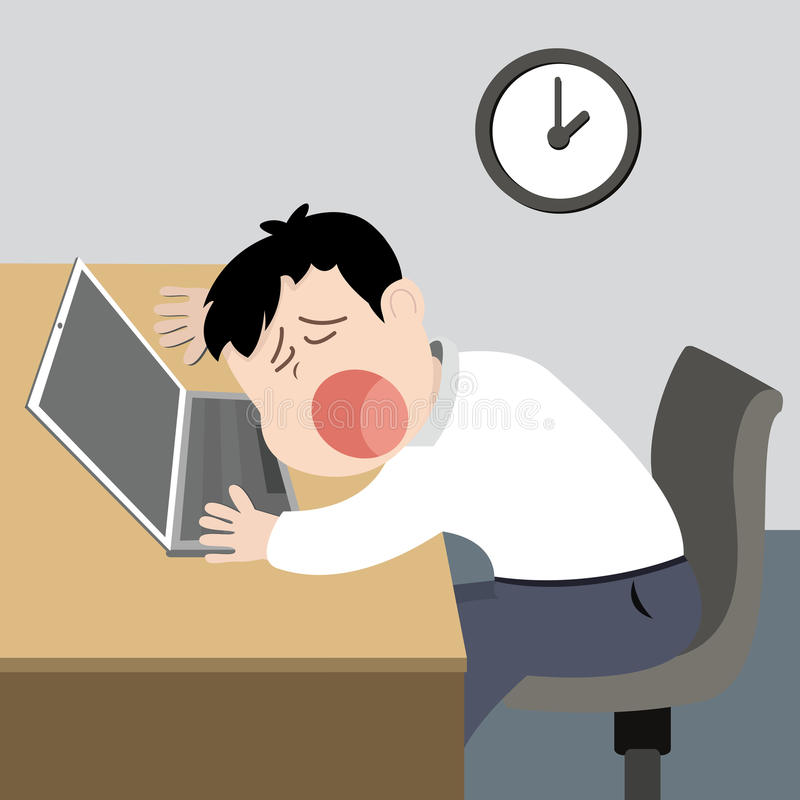 Lazy worker man. Tired and sleep on his desk vector illustration