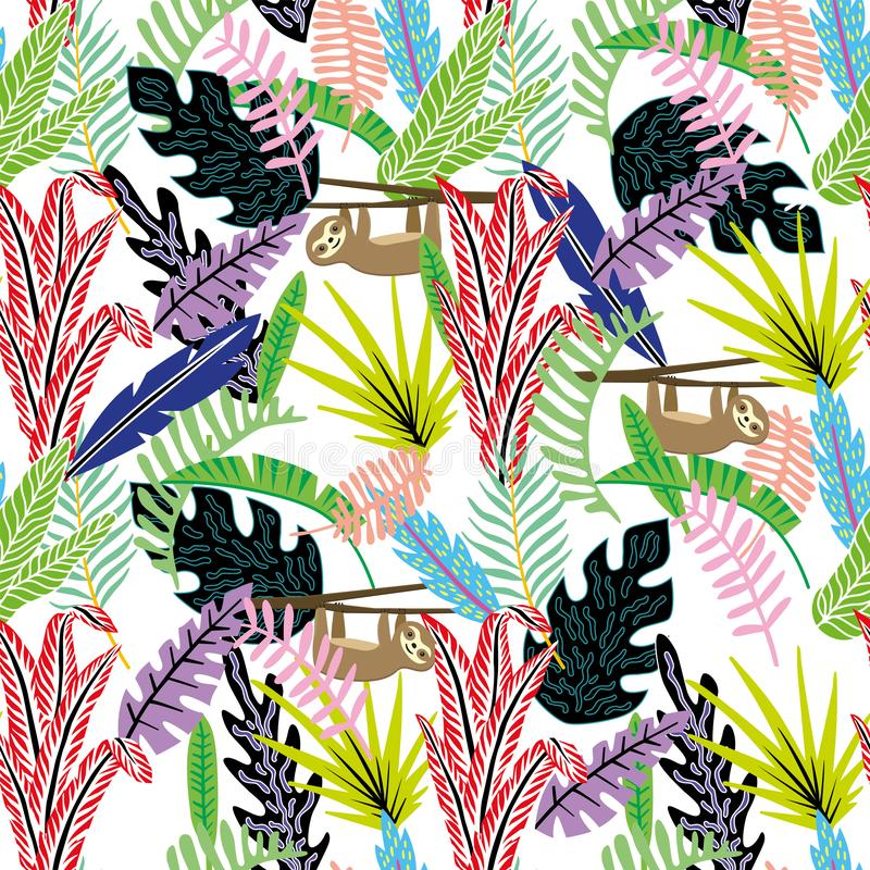 Lazybones картины конспекта мультфильма безшовные в джунглях белых бесплатная иллюстрация