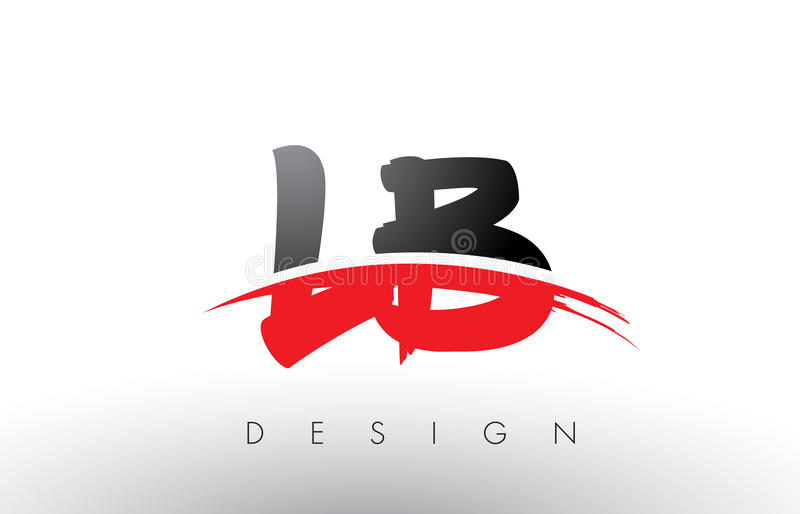 lb l b brush logo letters with red and black swoosh brush front rh dreamstime com