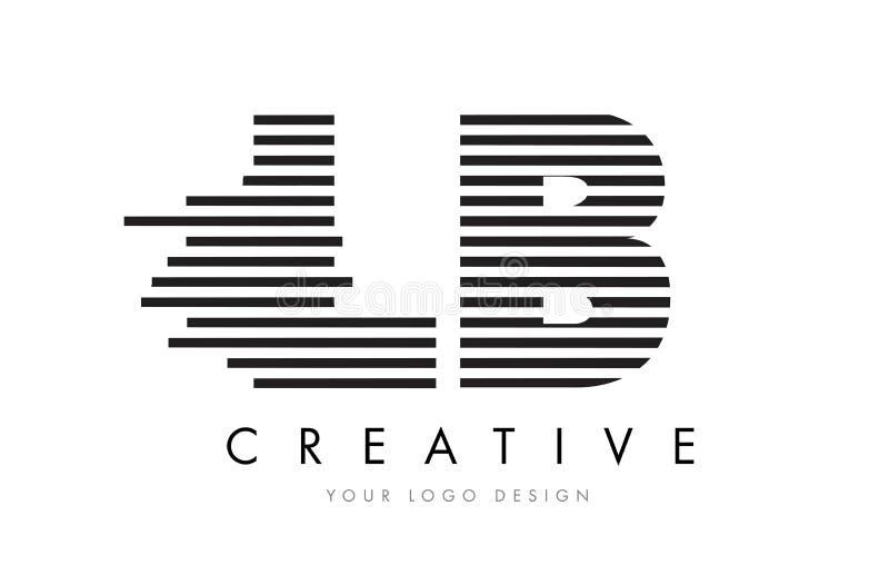 LB L B Zebra Letter Logo Design with Black and White Stripes royalty free illustration