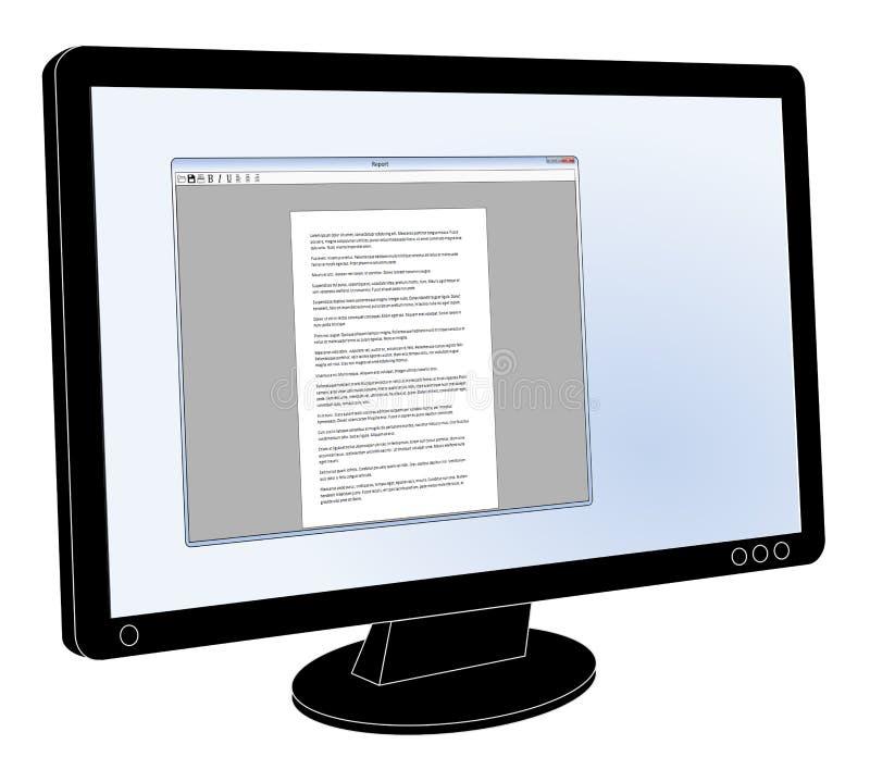 LCD与开放普通的文字处理软件的平面屏幕显示器 皇族释放例证