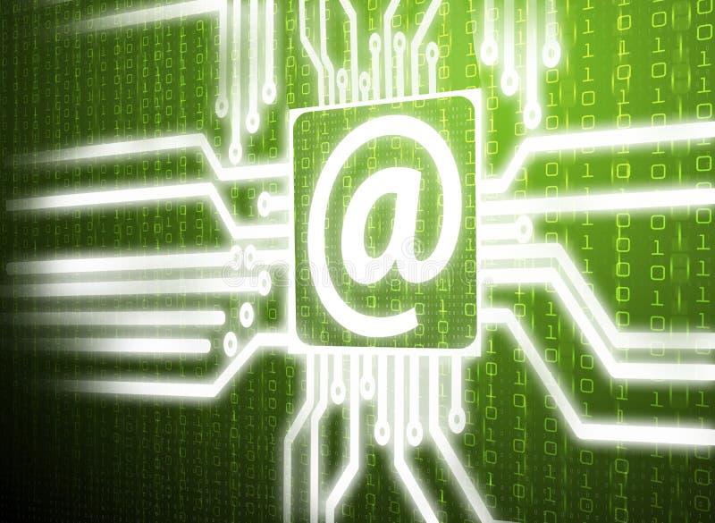 LCD在绿色屏幕背景的电路电子邮件 免版税库存图片