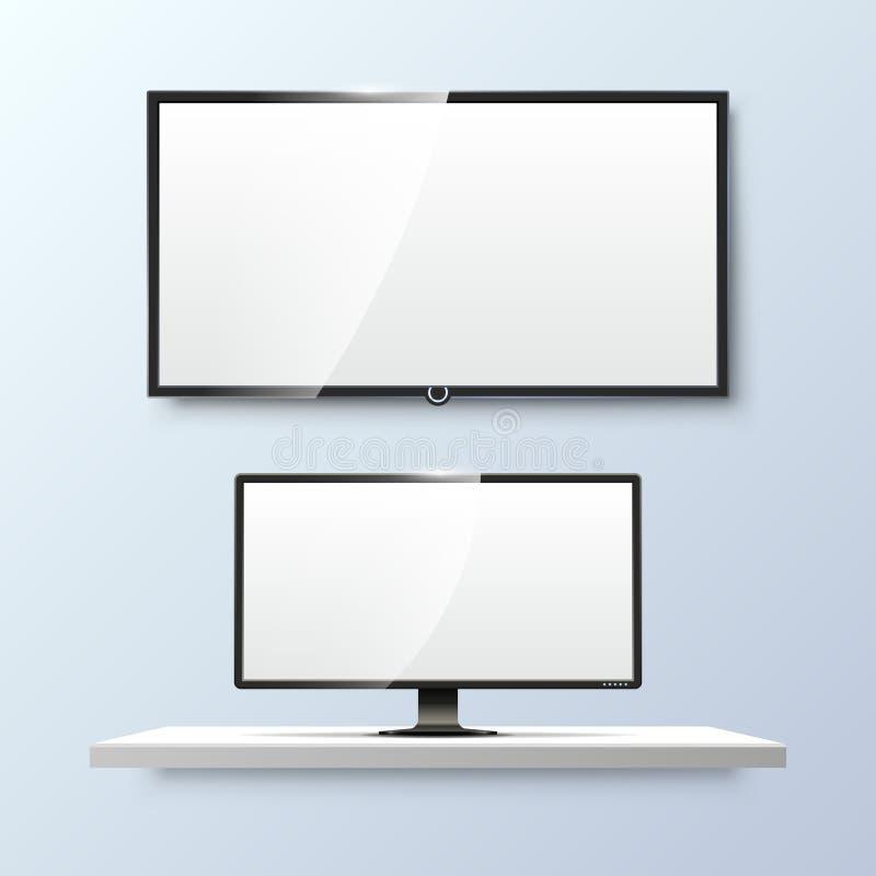 Lcd显示器和空的白色平的电视屏幕 向量 库存例证