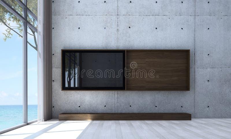 lcd电视室内设计和混凝土墙仿造背景 库存照片