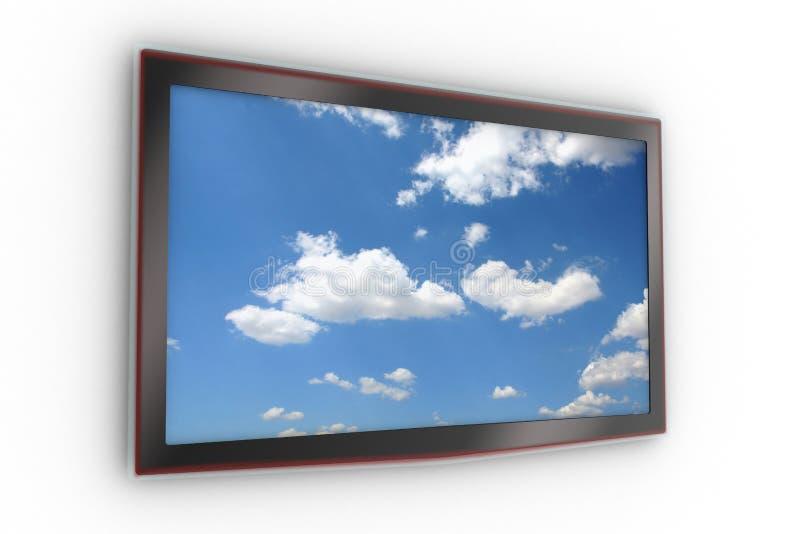 lcd被挂接的时髦的电视墙壁 免版税库存图片