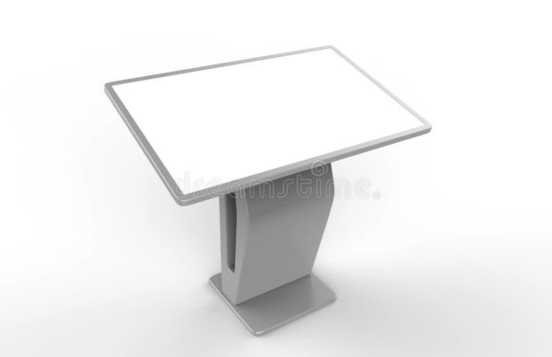 LCD触摸屏显示交互式报亭数字式标志Hd屏幕,接触显示报亭产品 3d例证回报 库存例证