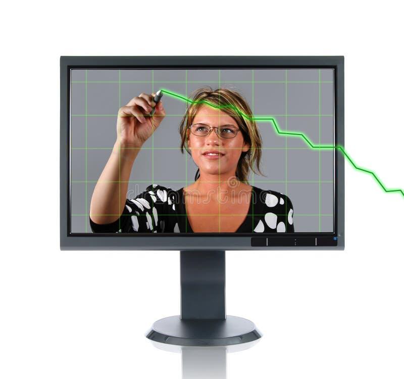 LCD überwachen Frau und Diagramm stockfotografie