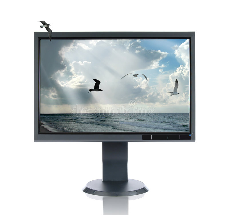 Lcd-Überwachungsgerät und Meerblick stockfoto