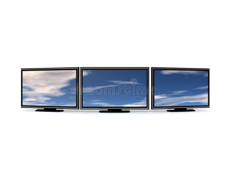 LCD τρία TV απεικόνιση αποθεμάτων