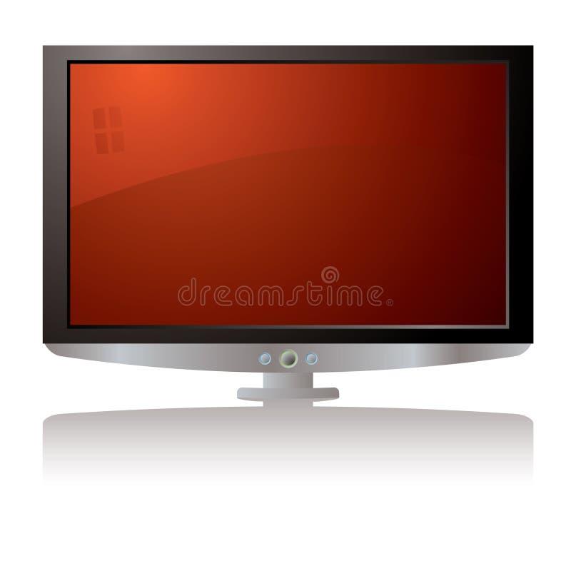 lcd красный tv иллюстрация вектора
